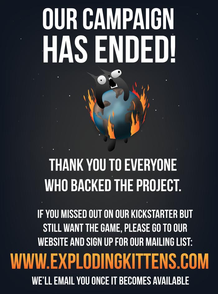 campaña finalizada Exploding Kittens gracias
